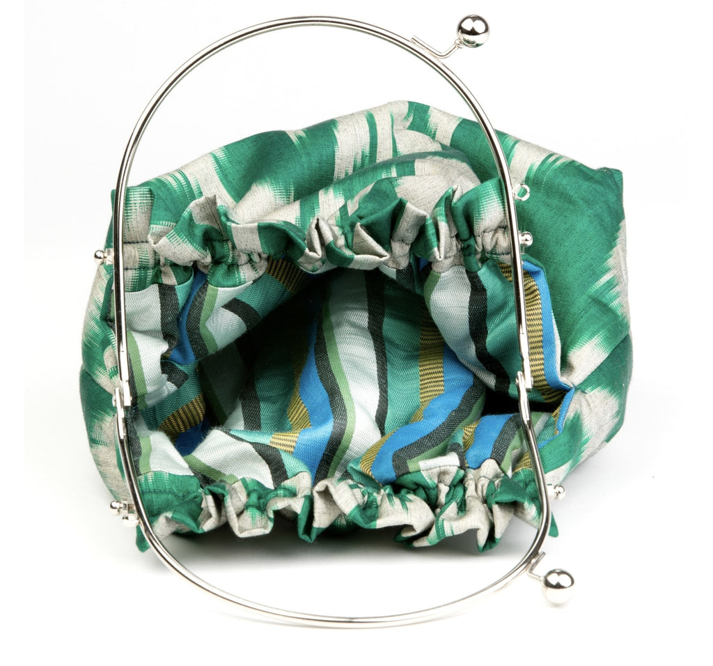 """Antrim"" Party Purse in Emerald Green Silk Ikat"