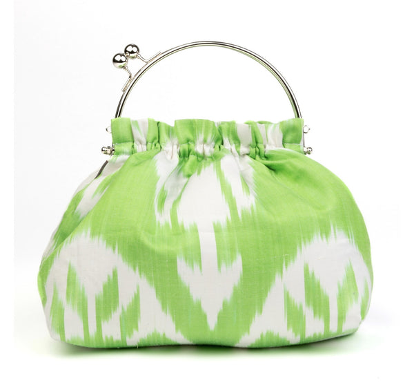 """Biarritz"" Party Purse in Lime Green Silk Ikat"