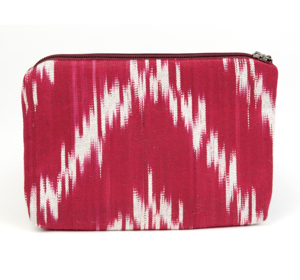 cotton ikat small bag with zipper, meets stadium size requirements, perfect for tailgating, red and grey ikat.