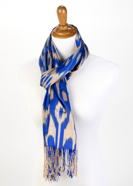 Silk Ikat scarf in blue and taupe/gold. Handwoven, hand-dyed, Can be used as shawl or shrug.