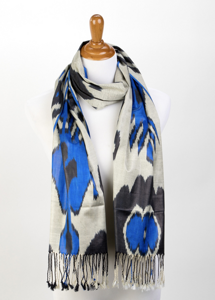 """Cecile"" Silk Ikat Scarf in Grey, Blue and Black"