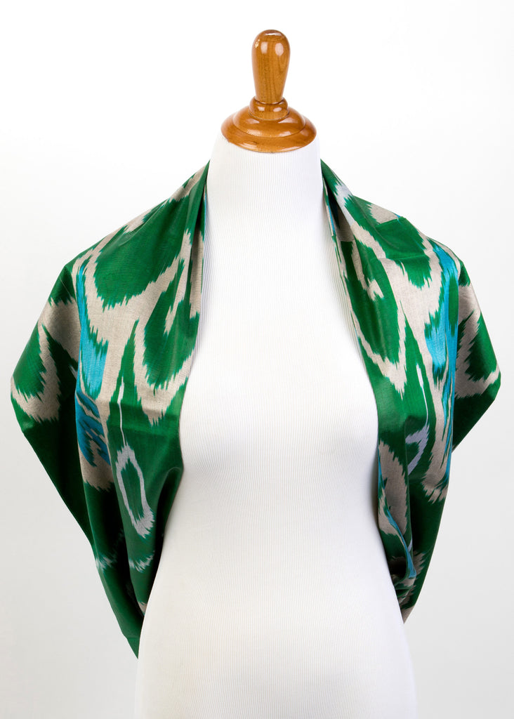 """Pryatnia"" Silk Ikat Infinity Scarf in Emerald Green and Teal"