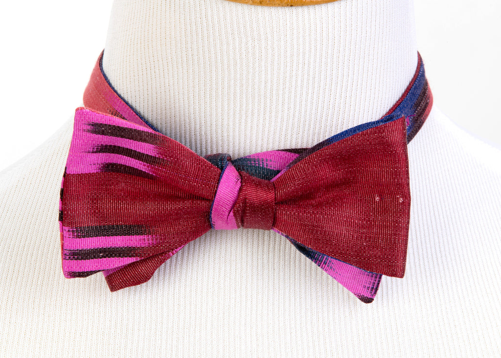 """Orsay"" Bow Tie in Silk Ikat - Indigo and Fuschia"