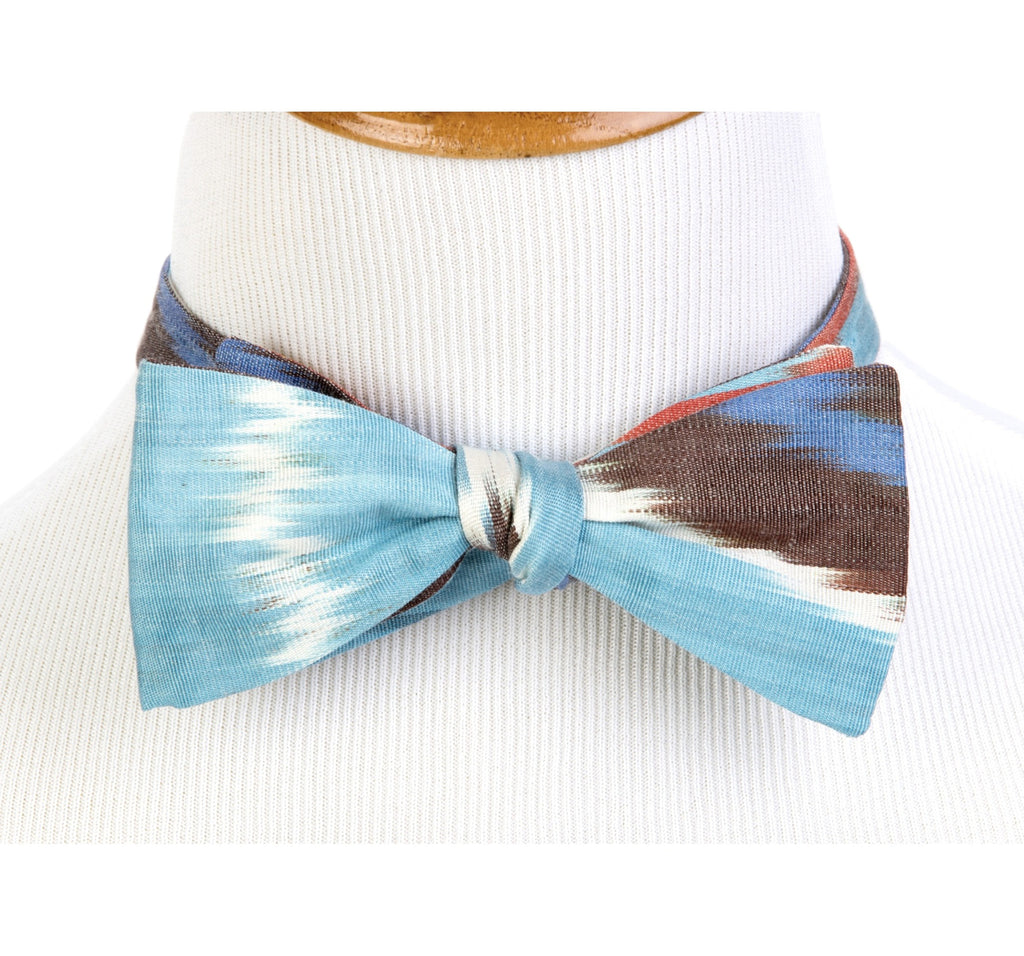 Bow Tie  in Silk Ikat - blue, red, yellow, black