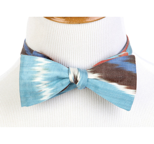 """Normandy"" Bow Tie in Silk Ikat - blue, red, yellow, brown"