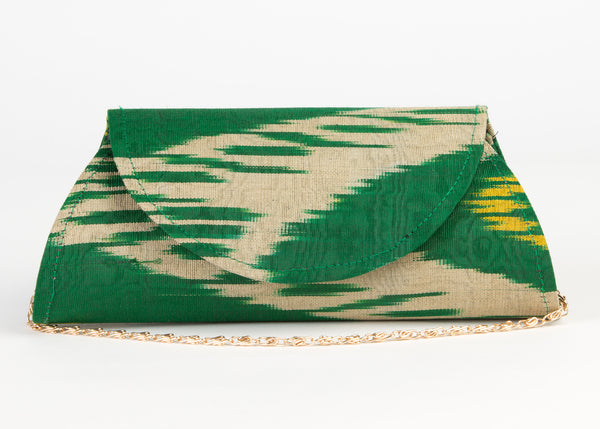 Silk Ikat Hard Shell Clutch, Small, in Emerald green, Cream and Yellow