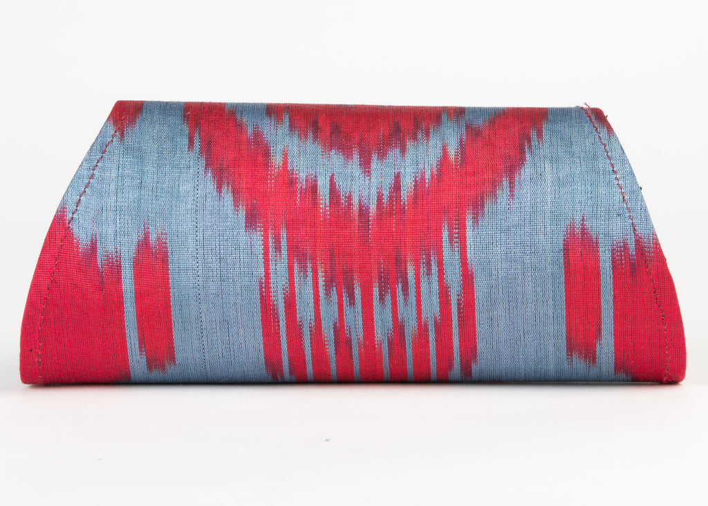 """Camille"" Silk Ikat Hard Shell Clutch, Small in Red and French Blue"