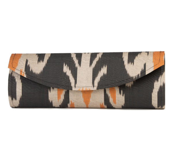 """Rye"" Silk Ikat Hard Shell Clutch, Large in orange and grey"
