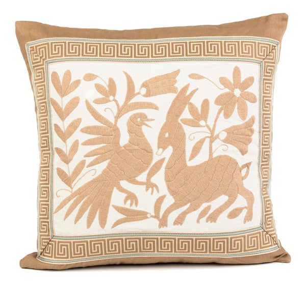 """Josephine"" Otomi Pillow, Beige with Greek Key Tape Trim"
