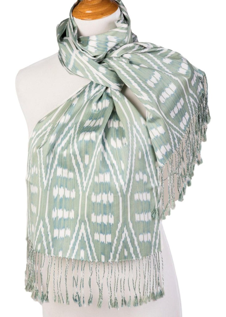 """Julia"" Silk Ikat Scarf in Celadon, Ivory, and Teal Blue"