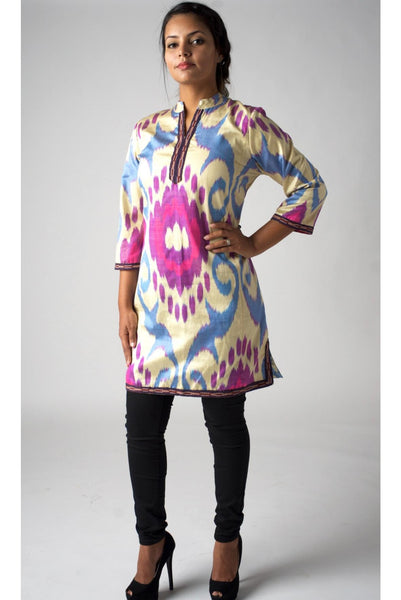 """Adair"" Silk Ikat Tunic/ Dress  in Ivory, Pinks and Purples"