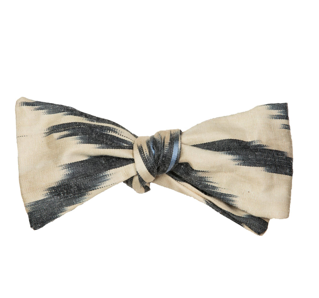 """Kenan""  Bow Tie in Silk Ikat - Cream, Black and French Blue"