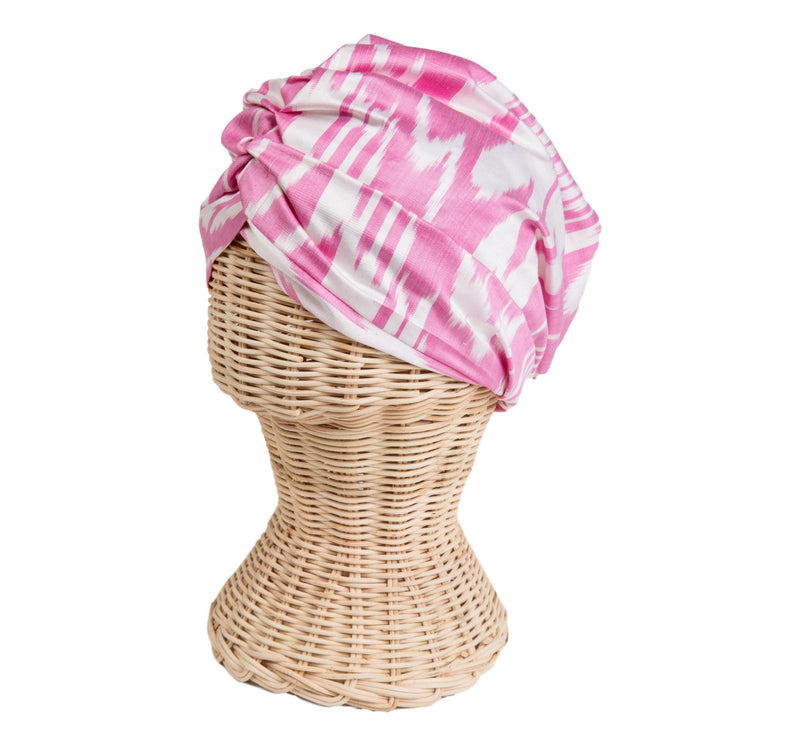 Kitty Silk Ikat Headscarf, Pink and White