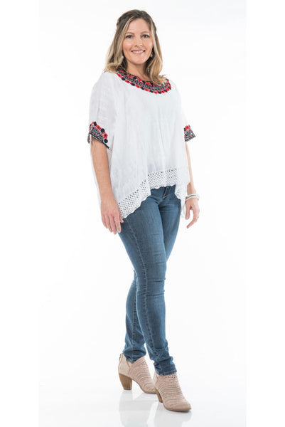 Beatriz Guatemalan Blouse - Red and Black