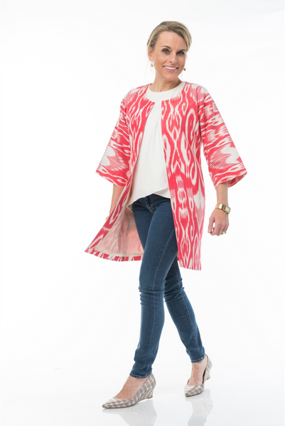 """Anais"" Silk Ikat Jacket in Red and Cream"