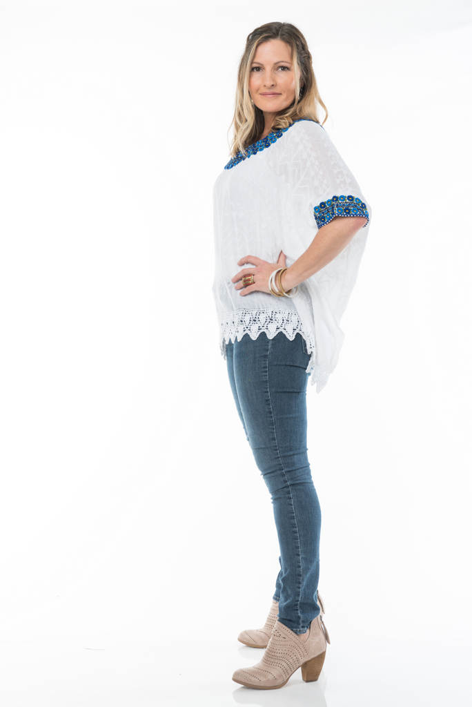 Beatriz Guatemalan Blouse - Blue and Black