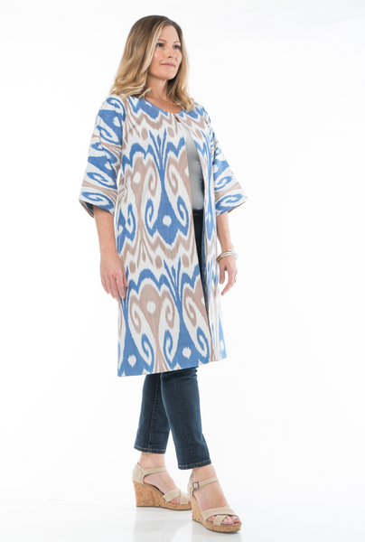 """Constantia""  Silk Ikat Jacket in blue, tan, and ivory, Size Large"