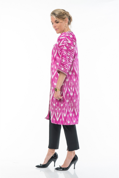 """Basques"" Silk Ikat Jacket in Pink and White, Size Small"