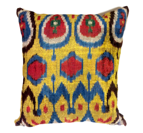 """Madrid"" Silk Velvet Ikat pillow"