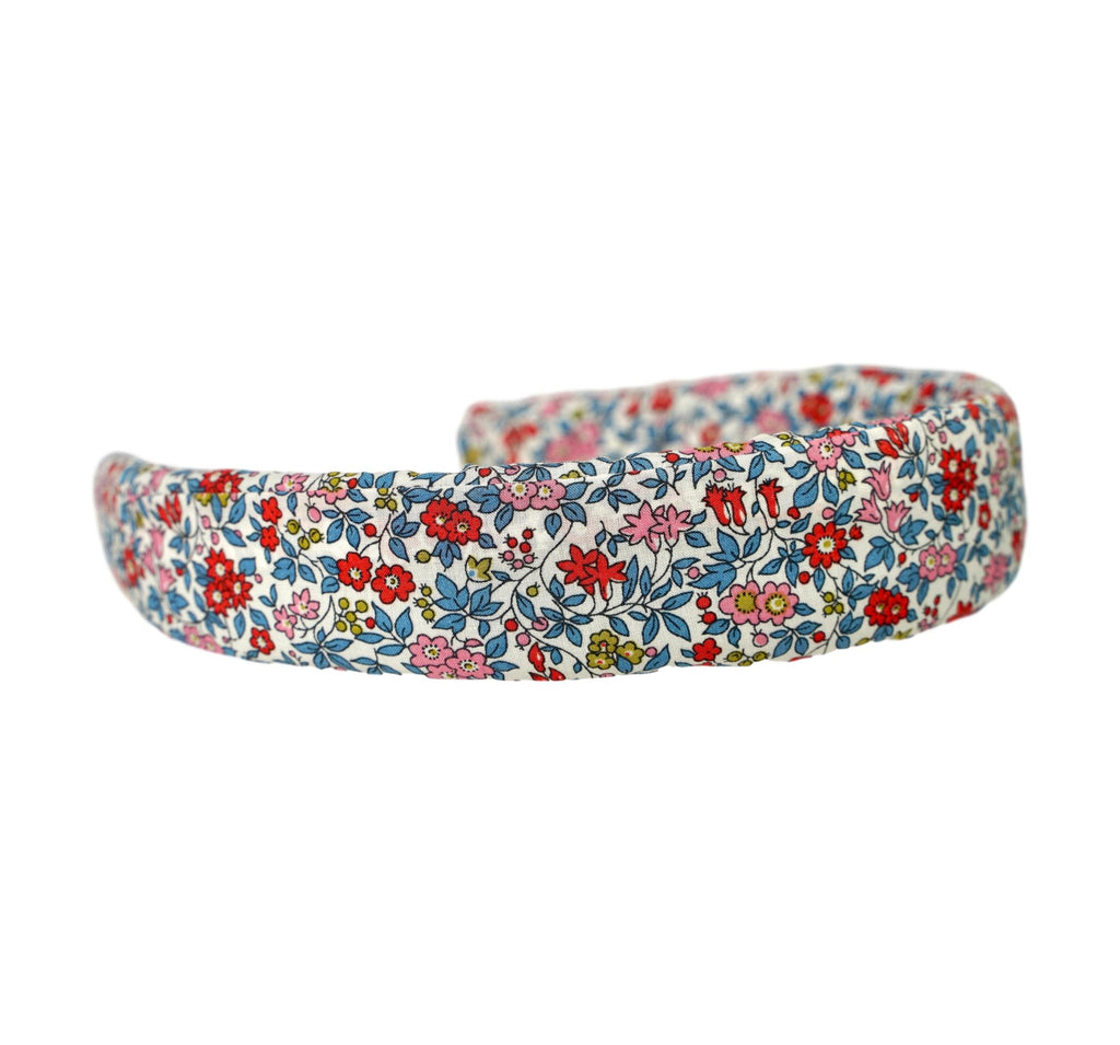 Liberty of London headband in floral red, pink, blue