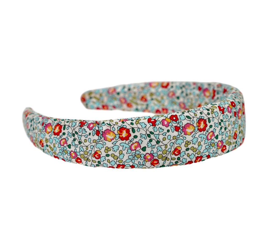 Liberty of London headband in turquoise, coral and tomato red. Beautiful floral pattern