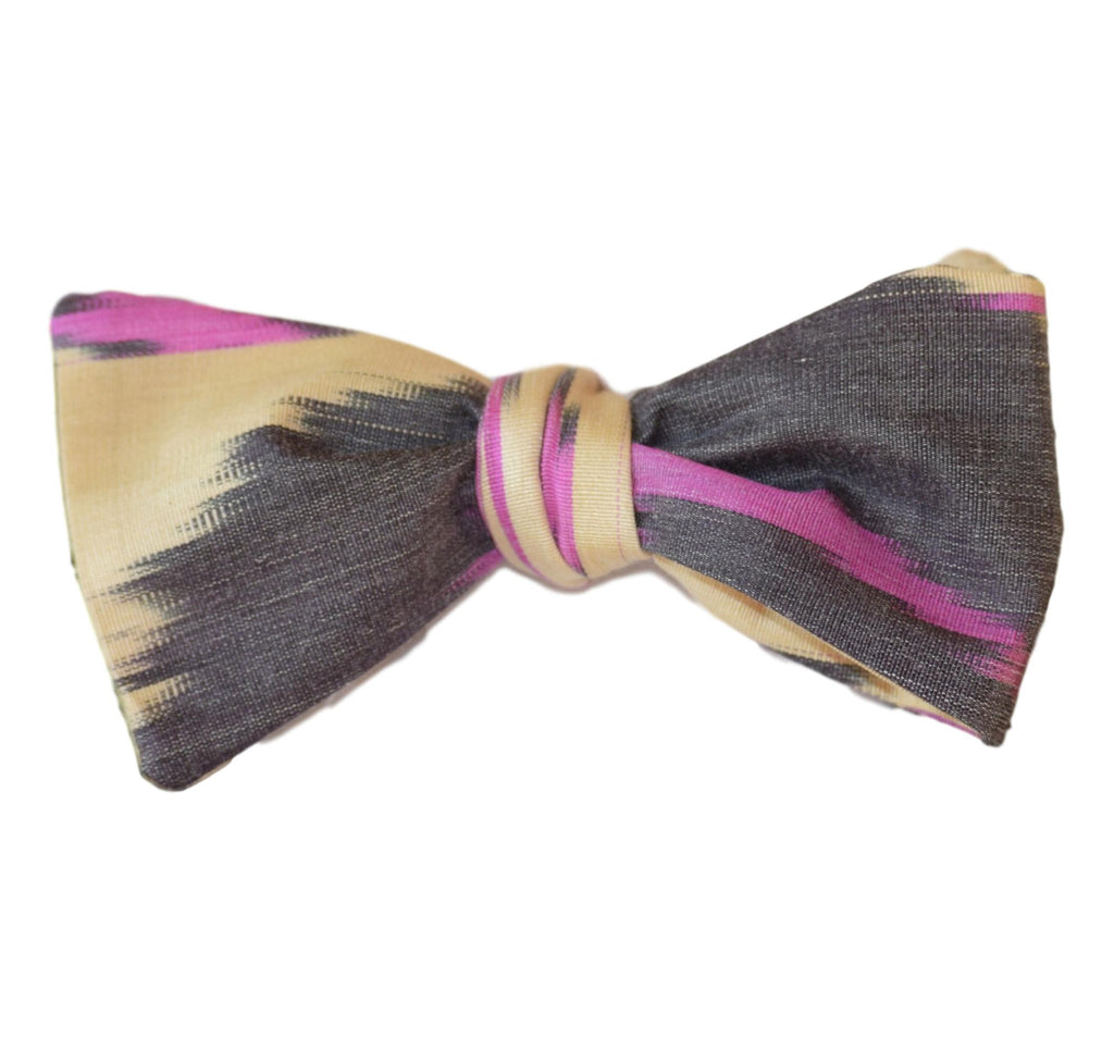 """Lagniappe"" Bow Tie in Silk Ikat,  Ivory, Purple and Black"