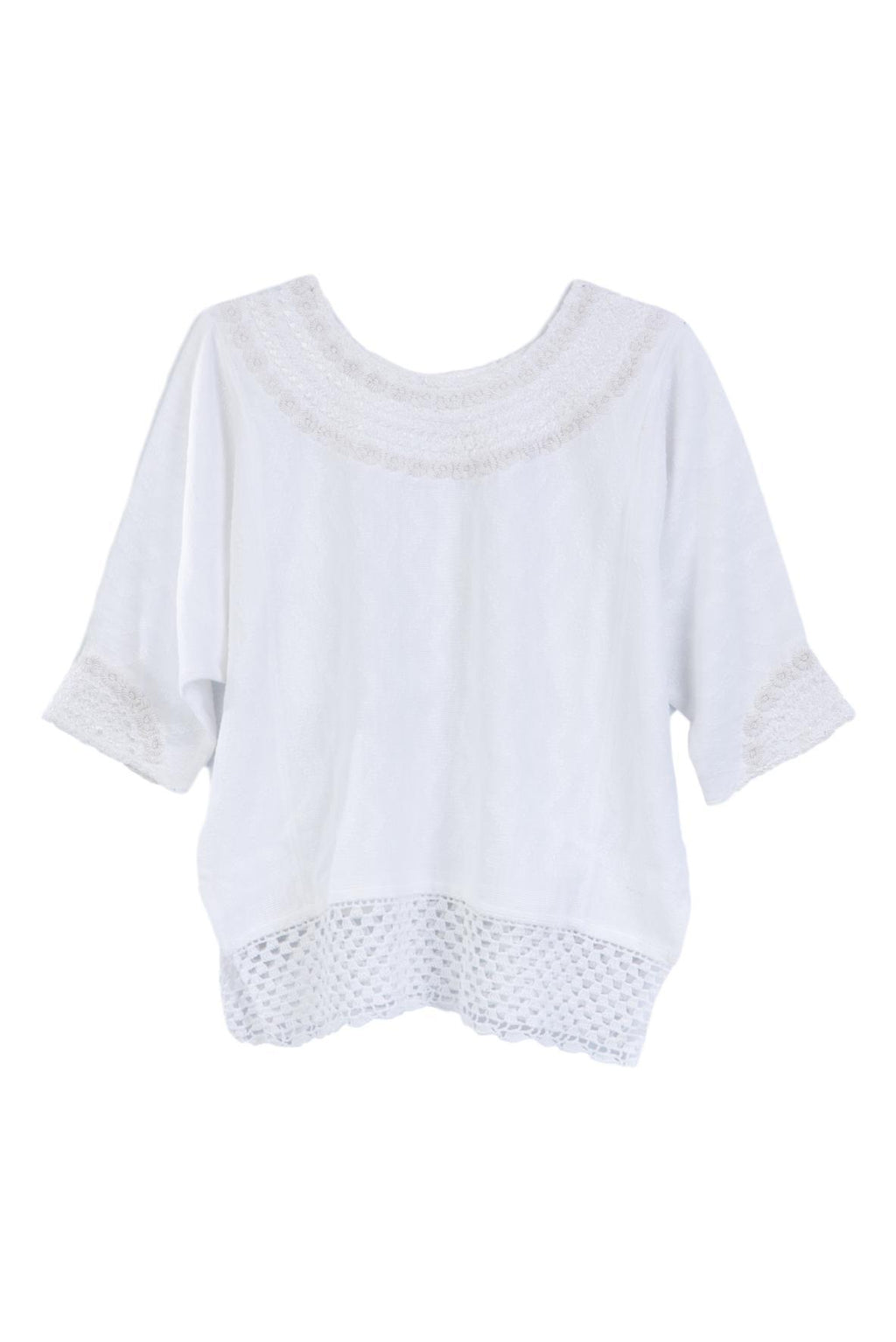 Hand-loomed and hand-embroidered white blouse