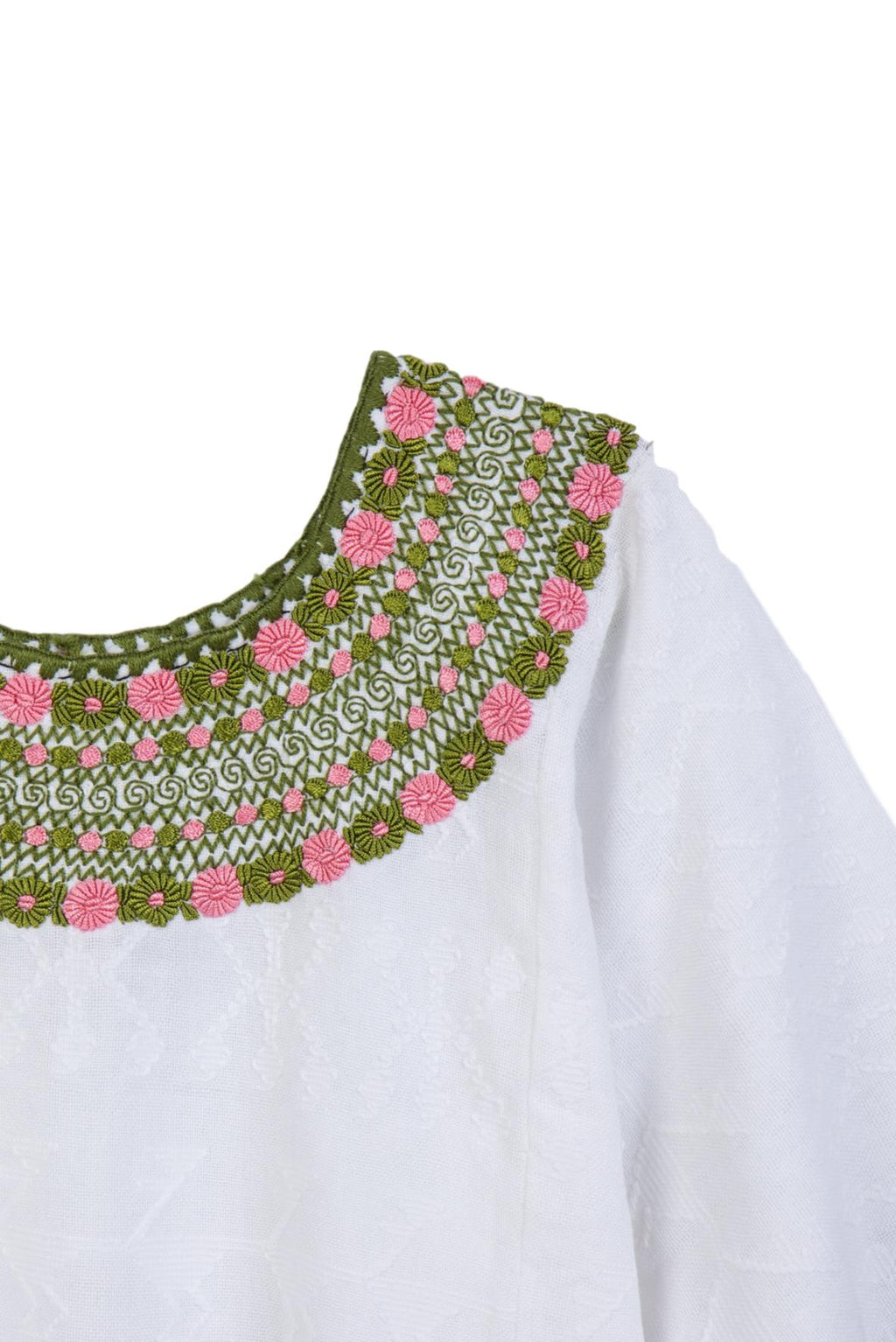 pink and green embroidered blouse with crochet detail