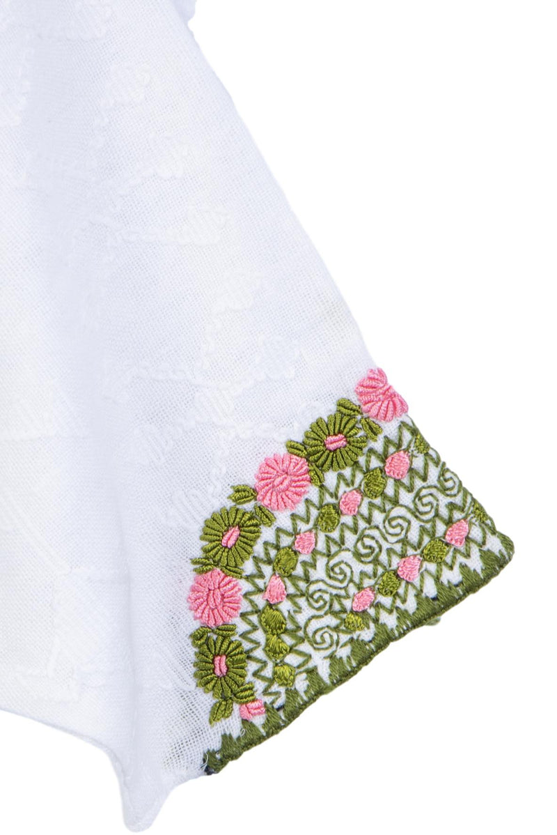 pink and green embroidered blouse with crochet sleeve