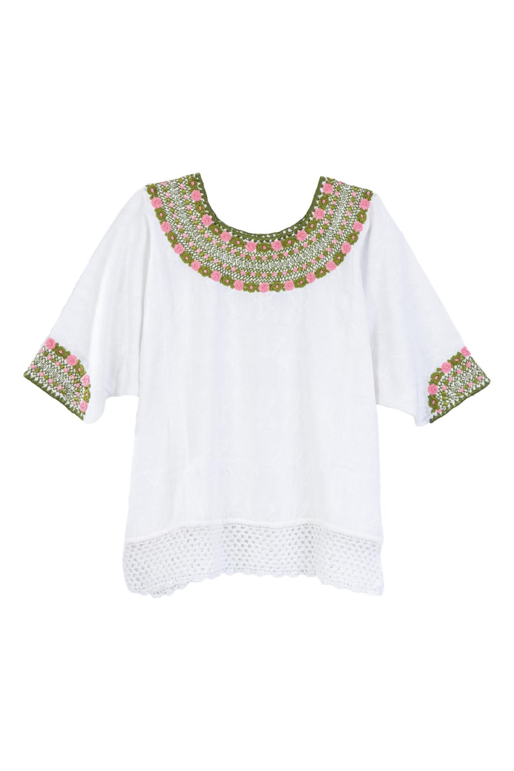 pink and green embroidered blouse with crochet