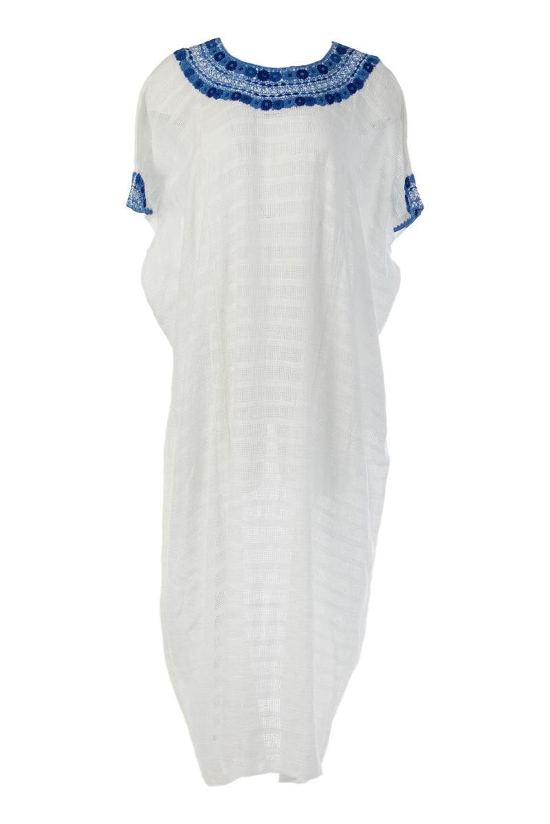 Luisa Guatemalan Kaftan - White and Blue