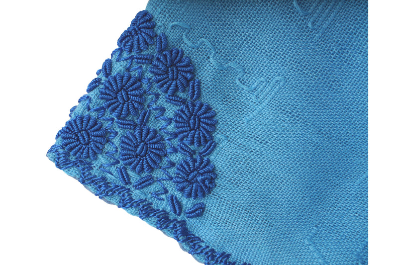 Martha Guatemalan Blouse in Cornflower Blue