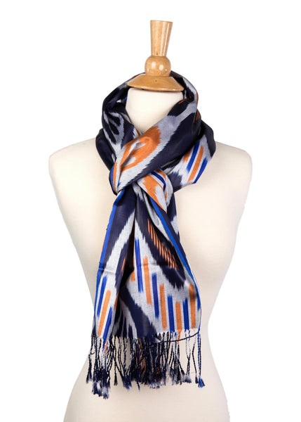"""Newton"" Silk Ikat Scarf in Navy, Orange, and White"
