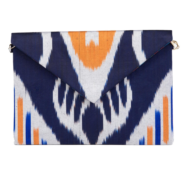 """Newton"" Silk Ikat Envelope Clutch, Navy, Orange and White"