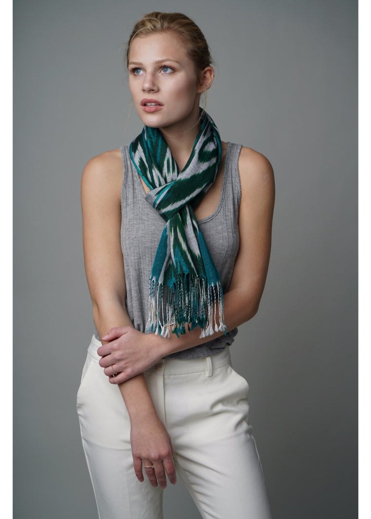 """Orleans"" Silk Ikat Scarf in Green/Grey"