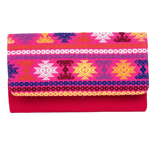 Guatemalan Textile Fold-Over Clutch- Pink, Multi