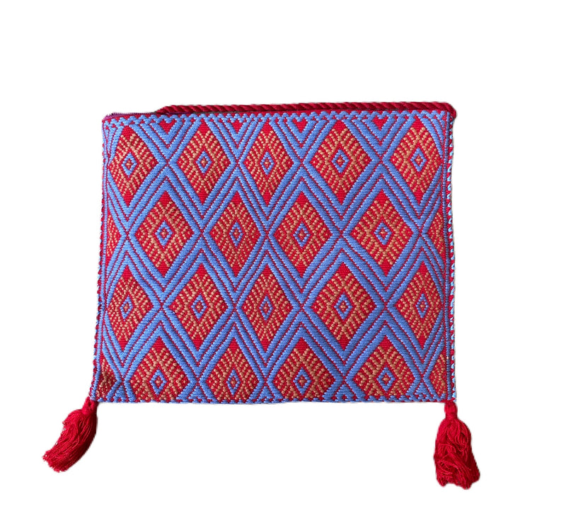 San Andres Mexican Crossbody Bag- Tomato Red, French Blue