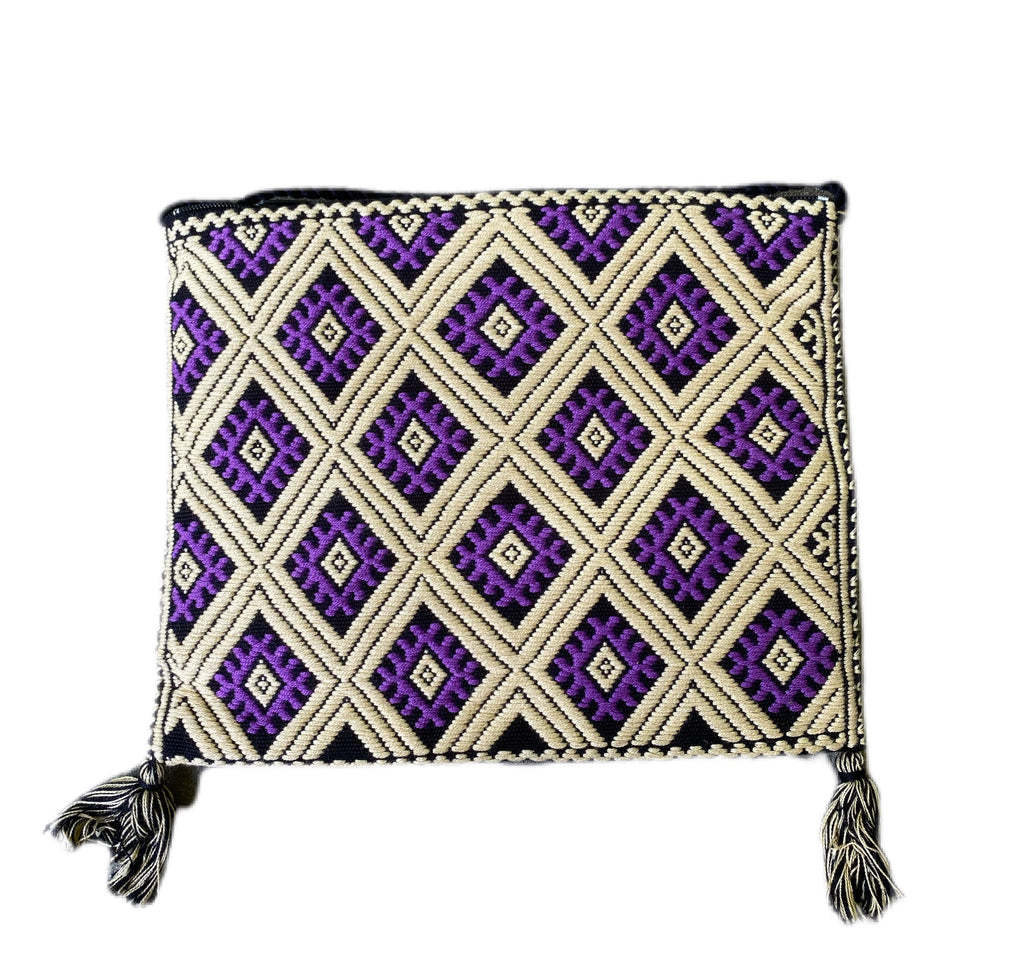 San Andres Mexican Crossbody Bag- Purple, Taupe, Black