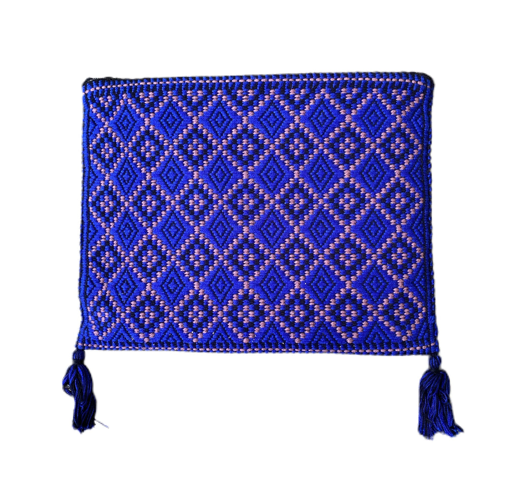 San Andres Mexican Crossbody Bag- Deep Blue, Taupe
