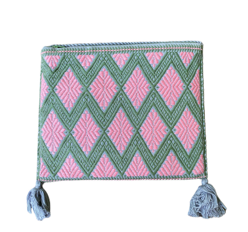 San Andres Mexican Crossbody Bag- Pink, Green