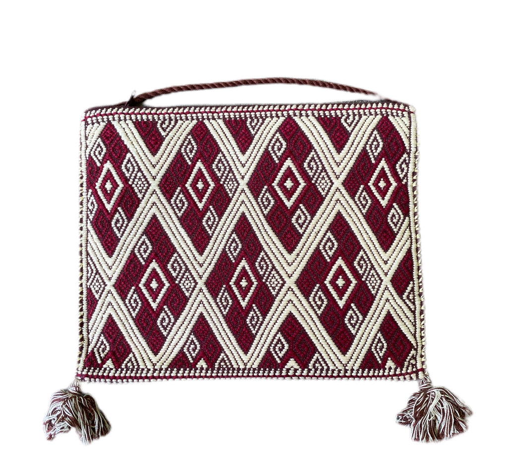 San Andres Mexican Crossbody Bag-Maroon, Ivory