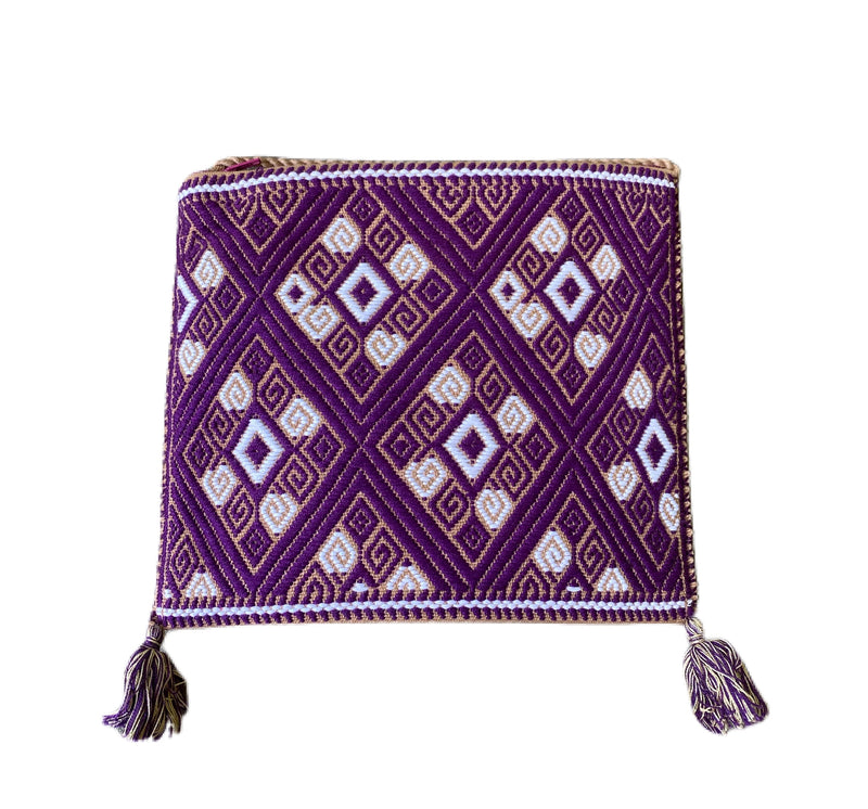 San Andres Mexican Crossbody Bag- Plum, Coffee, White