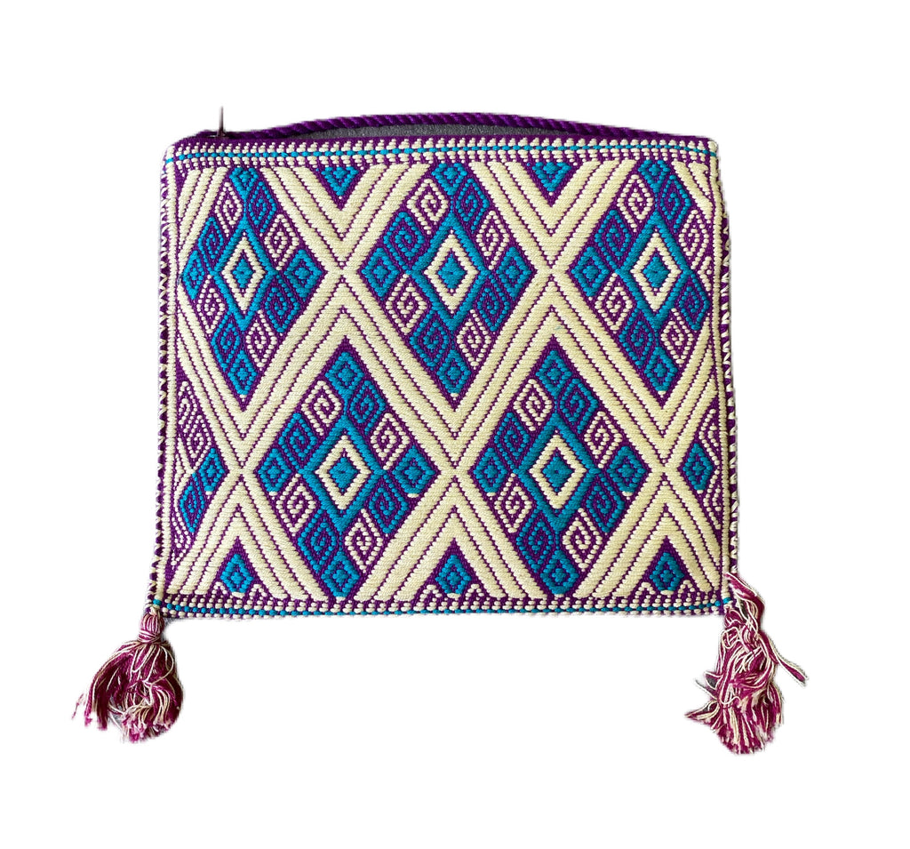 San Andres Mexican Crossbody Bag- Teal, Plum, Ivory