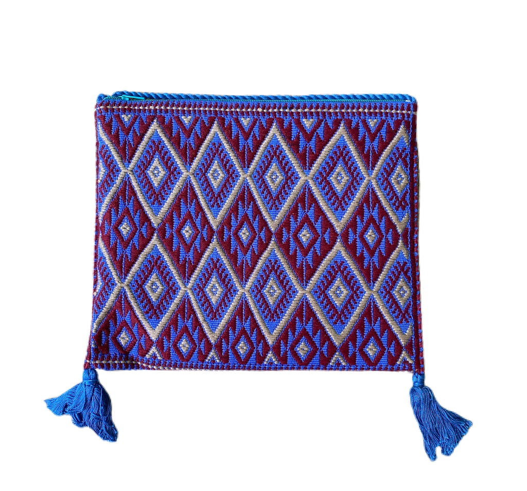 San Andres Mexican Crossbody Bag- Red, Taupe, Blue