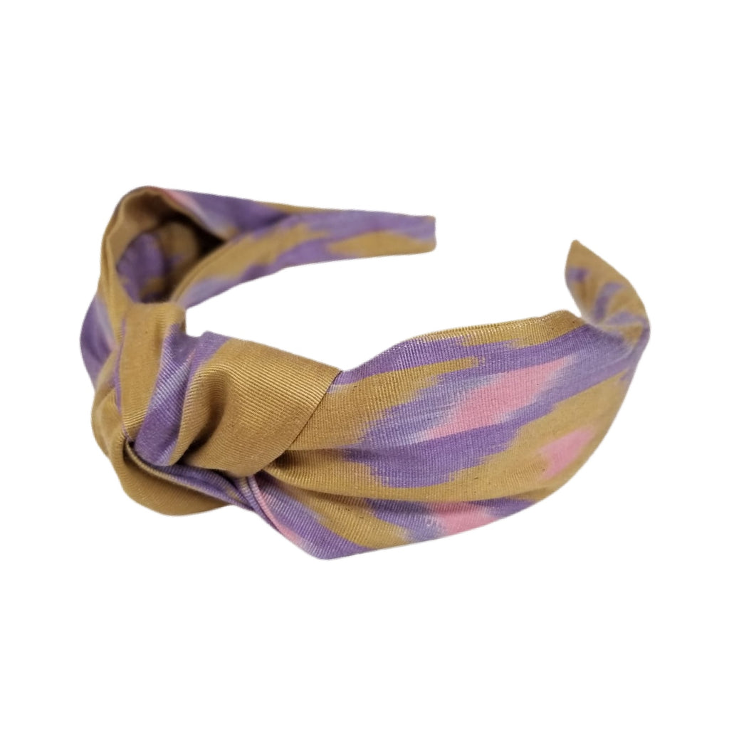 Wide Band Knotted Silk Ikat Headband - Ponte Vedra Pattern