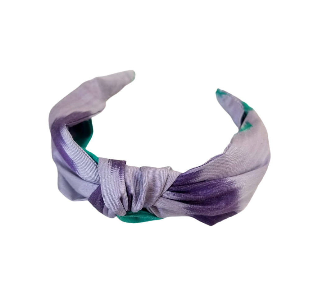 NEW IKAT COLLECTION! Wide Band Knotted Silk Ikat Headband - Bacchus Pattern