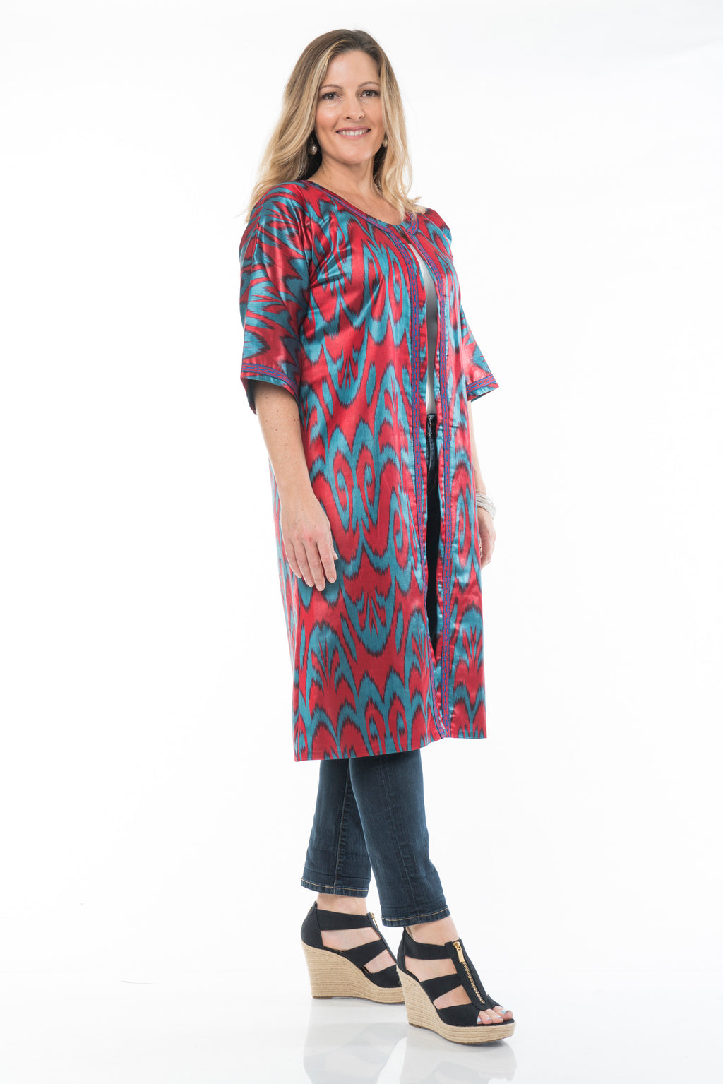 Rowan Silk Ikat Coat, Long