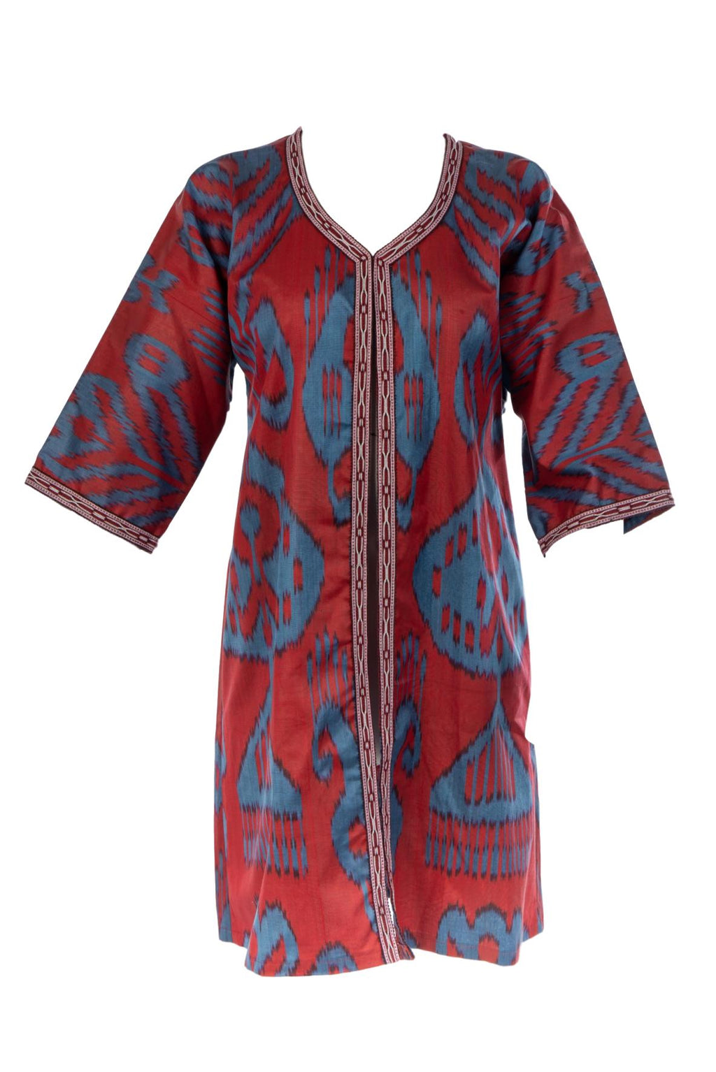 Rowan Silk Ikat Jacket in Red and Blue