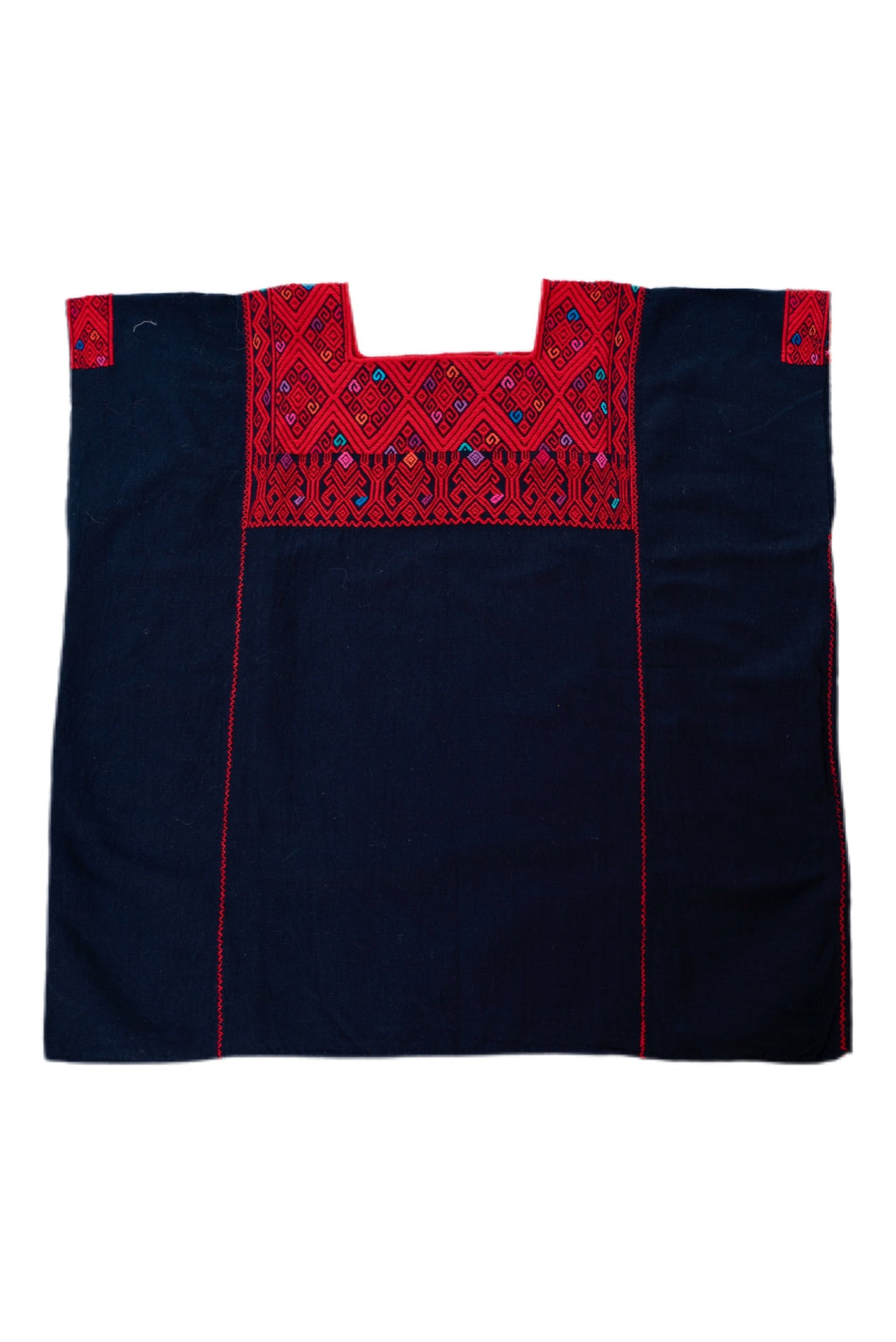 San Andres Mexican Blouse -Black and Red
