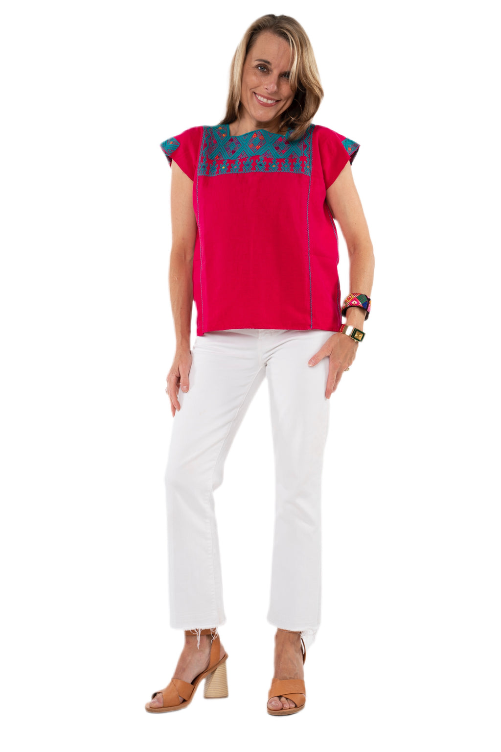 San Andres Mexican Blouse - Fuschia, Teal